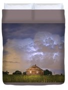 Rural Country Cabin Lightning Storm Duvet Cover