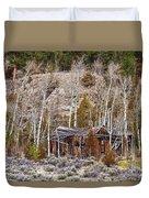 Rural Rustic Rundown Rocky Mountain Cabin Duvet Cover