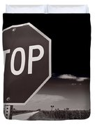 Rural Stop Sign Bw Duvet Cover by Steve Gadomski