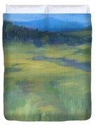 Rural Valley Landscape Colorful Original Painting Washington State Water Mountains K. Joann Russell Duvet Cover
