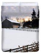 Rural Winter Landscape Duvet Cover