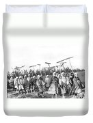 Russian Women Go To The Fields Duvet Cover