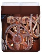 Rust Gears And Wheels Duvet Cover
