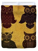 Rustic Aged 4 Owls Duvet Cover