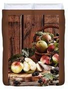 Rustic Apples Duvet Cover by Amanda Elwell