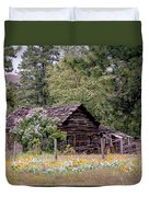 Rustic Cabin In The Mountains Duvet Cover