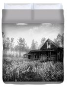 Rustic Historic Woodlea House - Black And White Duvet Cover