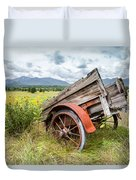 Rustic Landscapes - Wagon And Wildflowers Duvet Cover by Gary Heller