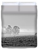 Rustic Morning In Black And White Duvet Cover