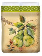 Rustic Pears On Moroccan Duvet Cover