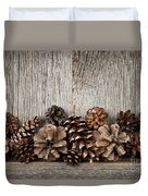 Rustic Wood With Pine Cones Duvet Cover by Elena Elisseeva