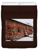 Rustic Workshop In Winter Duvet Cover