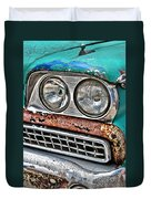 Rusty 1959 Ford Station Wagon - Front Detail Duvet Cover
