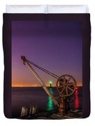 Rusty Davit And Two Lighthouses Duvet Cover by Semmick Photo