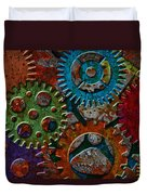 Rusty Gears On Grunge Texture Background Duvet Cover