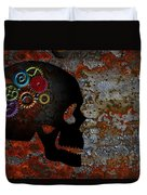 Rusty Gears On Skull Grunge Texture Background Duvet Cover