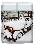 Rusty Jeep In Snow Duvet Cover