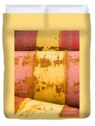 Rusty Oil Barrels Yellow Red Background Pattern Duvet Cover