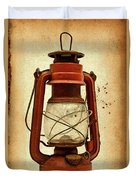 Rusty Old Lantern On Aged Textured Background E59 Duvet Cover