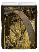 Rusty Old Wheel And Yellow Grasses Duvet Cover