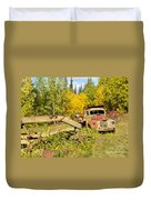 Rusty Truck And Grader Forgotten In Fall Forest Duvet Cover