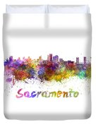 Sacramento Skyline In Watercolor Duvet Cover