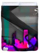 Sacramento Skyline Watercolor Duvet Cover