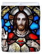 Sacred Heart Of Jesus In Stained Glass Duvet Cover