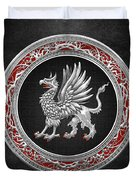 Sacred Silver Griffin On Black Leather Duvet Cover