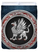 Sacred Silver Griffin On Blue Leather Duvet Cover