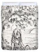 Sad Little Girl Duvet Cover