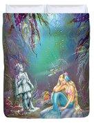 Sad Little Mermaid Duvet Cover by Zorina Baldescu