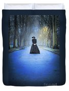 Sad Victorian Woman Alone In A Park At Dusk Duvet Cover