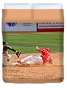 Safe At Second Duvet Cover by Bob Hislop