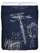 Safety Parachute Patent From 1919 - Navy Blue Duvet Cover