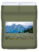 Sagebrush Flatland And Teton Peaks Near Jenny Lake In Grand Teton National Park-wyoming- Duvet Cover
