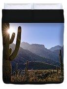 Saguaro Cacti And Catalina Mountains Duvet Cover