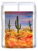 Saguaro Cactus Desert Landscape Duvet Cover