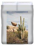 Saguaros And Big Rocks Duvet Cover