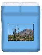Saguaros And Mountain Duvet Cover