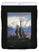 Saguaros And Snow Duvet Cover