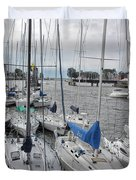 Sail Boats Docked For The Night Duvet Cover