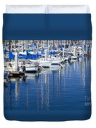 Sail Boats Docked In Marina Duvet Cover