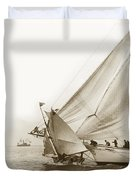 Sail Boats Little Anne And Virginia Collision On San Francisco Bay Circa 1886 Duvet Cover