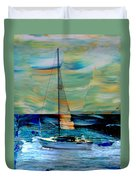 Sailboat And Abstract Duvet Cover