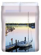 Sailboat At Sunrise Duvet Cover by Elena Elisseeva