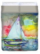 Sailboat Evening Wc On Paper Duvet Cover