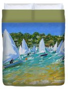 Sailboat Race Duvet Cover by Andrew Macara