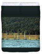 Sailboat Regatta Cascade Lake Duvet Cover