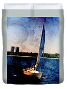 Sailboat Tilted Towers W Metal Duvet Cover